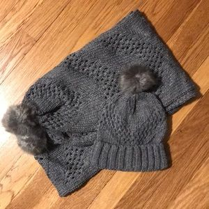 Never worn! Grey Knit Scarf with Matching Hat